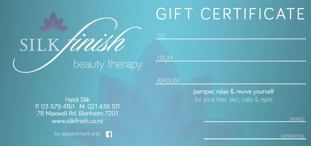Beauty Therapy Gift Certificates Are Available At Silk Finish Beauty Salon In Marlborough